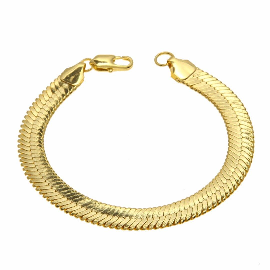 1cm Flat Snake Bone Chain Bangles & Bracelets Fashion Solid Gold Bracelet Mens Hip Hop Rock Jewelry Accessories Gifts