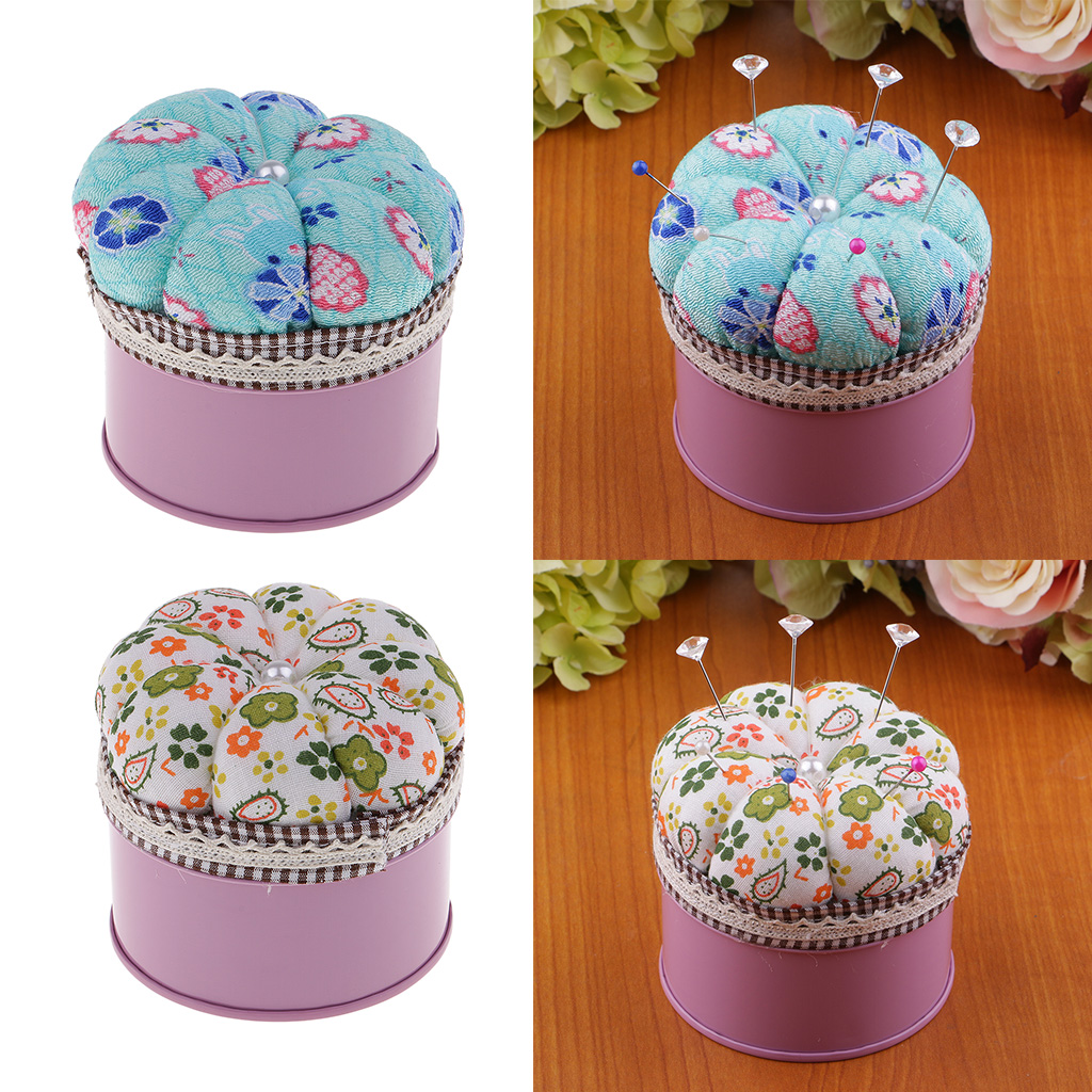 Cotton Fabric Needle Pin Cushion Pumpkin Storage Case DIY Sewing Quilting
