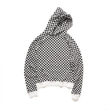 High Quality Plaid Urban Clothing Hoodies Men Women Hip Hop Cotton Biker Sweatshirt Loose Extended Hoodies(China)