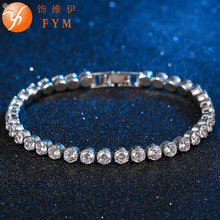 2016 Simple Style Silver Color Bracelet with AAA Zircon Crystal Bracelet Femme Copper Link Chain Jewelry Bracelets for Women