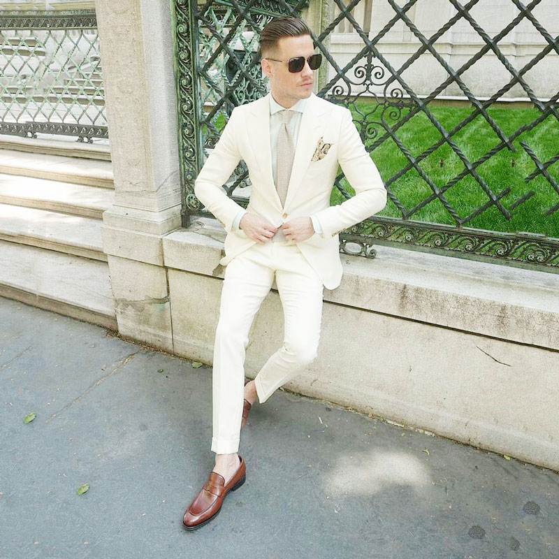 Ivory Linen Groom Wedding Tuxedo Men Suits with Pants Groomsmen Man Blazers Jacket Terno Masculino Slim Fit Costume Homme 2Piece
