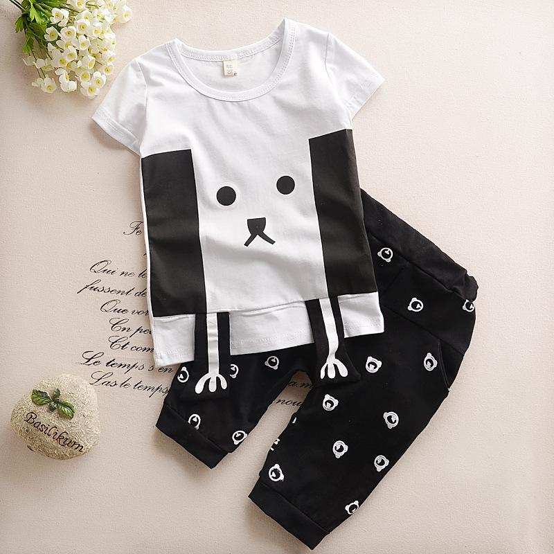 Summer Kids Boys Girls Clothes 2017 New Korean Style Children Clothing Set Casual Cartoon Cute Suits for Baby Boys Girls(China (Mainland))