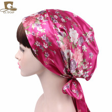 women Satin head scarf comfortable sleeping bonnet silky head covering head wrap hair scarf cap