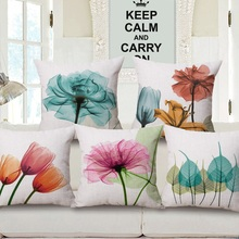 3D Stereo Watercolor Flower Beige Cushion Cover 16 Style Purple Blue Yellow Pink Pillow Case 45X45cm 95g Bedroom Sofa Decoration