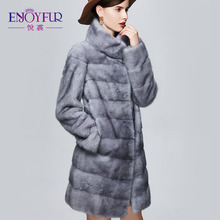 ENJOYFUR Winter Real Mink Fur Coats For Women Genuine Leather Mink Coats Fashion Warm High-grade Mink Fur Coat With Stand-collar