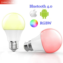 Smart Bluetooth 4.0 Led bulbs multi color E27 or B22 base 4.5W RGBW Dimmable intelligent lighting spot lamp for ISO Android VR(China)