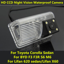 For Toyota Corolla Sedan BYD F3 F3R S6 M6 Lifan 620 sedan Lifan X60 Car CCD Night Vision Backup Rear View Camera Waterproof
