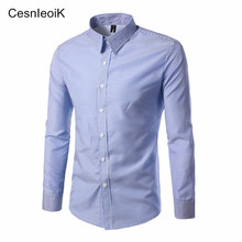 2017 Men Fashion Casual Long Sleeved Shirt Slim Fit Male Social Business Dress Shirt Brand Men Clothing Soft Comfortable CX08