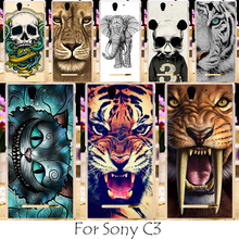 Akabeila Painted Tiger Lion Owl Cases For Sony Xperia C3 D2533 C3 Dual D2502 S55T S55U Protective Shell Cell Phone Bagss