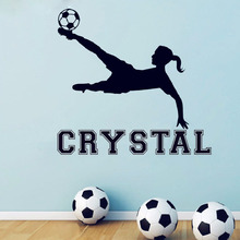 Free Shipping Girl Soccer Vinyl Wall Decal Custom Girls Name Stickers, Girls Rooms Wall Art Mural Decor, Football Wallpaper X205