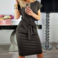 Buy 2018 Women Dress Ladies Round Neck Short Sleeve Knee Length Elegant Pencil Dress Pocket Office Dress Vestidos WS5815R for $10.77 in AliExpress store