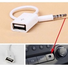 3.5mm Male AUX Audio Plug Jack To USB 2.0 Female Converter Cord Cable Car MP3 phone ipod mp4 adapter