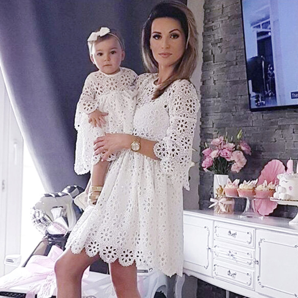 Mom&Me Family Dress Baby Girls Kids Ladies Lace Match Daughter Clothes Dresses