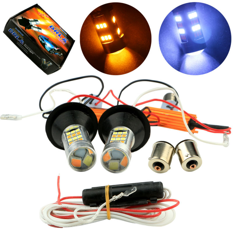 High Quality 4Sets 1156 P21W BA15S 2835 42 SMD Amber/White 42 LEDs Switchback LED Bulbs S25 DRL Turn Signal Light Dual Colors<br><br>Aliexpress