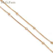 MxGxFam (50cm*2mm) Fashion Small Box With Beads Chain Necklace For Women 18 Gold Color Lead and Nickel Free(China)