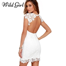 Buy Elegant white lace backless sexy dress Women backless hollow casual summer dress Short sleeve fashion party dress vestidos for $20.16 in AliExpress store