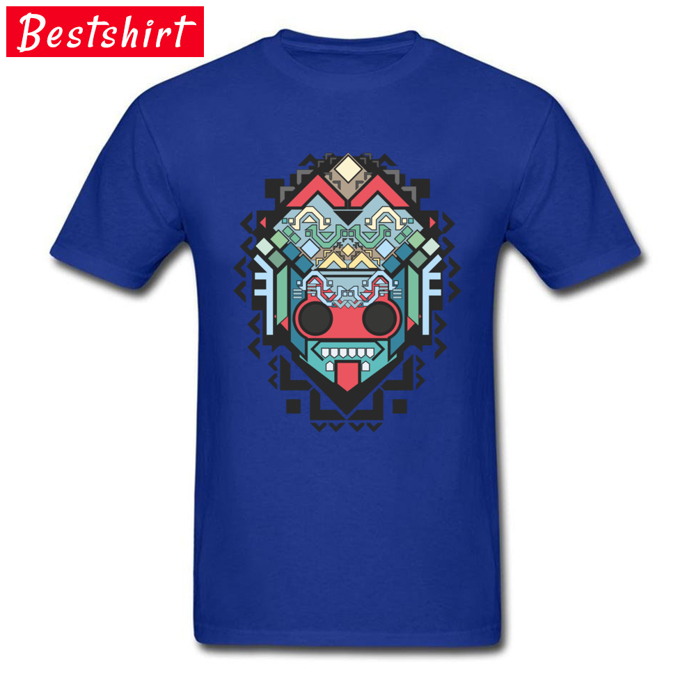 Men Retro Tops & Tees O-Neck Summer 100% Cotton Fabric T-shirts Printed On Abstract geometric colored inca art Clothing Shirt Abstract geometric colored inca art blue