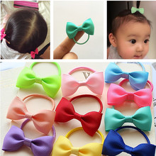 10 Pcs/lot Solid /Dot Candy Color Elastic Hair Ties Girls' Hair Bands Kids Accessories