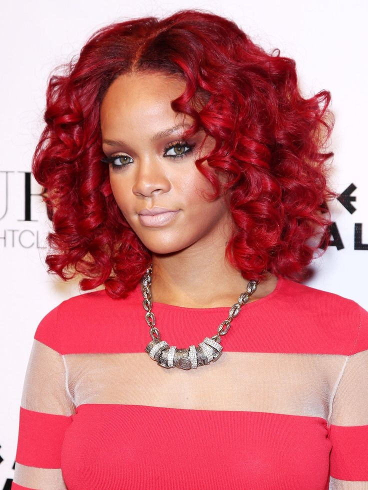 Rihanna Hairstyle Medium Long Curly Red Synthetic Hair Wigs Heat Resistant Hair African American Women Full Wigs<br><br>Aliexpress