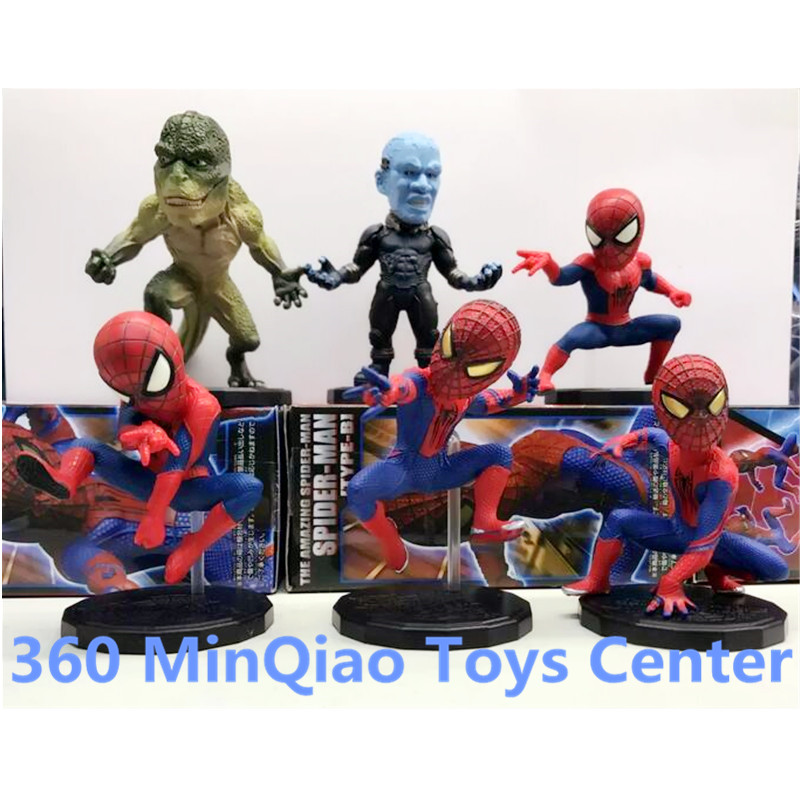 Marvel WCF The Amazing Spider-man Spiderman Electro Lizard PVC Action Figure Collectible Model Toys 6pcs/set Boxed WU1008<br>