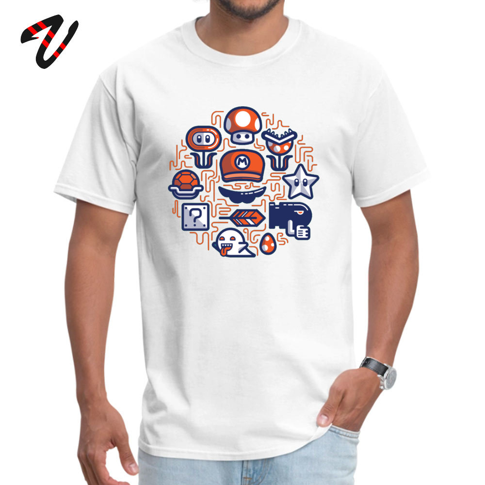 Company Mario Essentials Funny Short Sleeve T-Shirt Summer Fall O Neck 100% Cotton Tops & Tees for Men Tops Tees Design Mario Essentials 6888 white