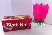 Wedding Birthday party gift Flower Music Candle Lotus style New Lotus Music Candles Lotus Petal(China)