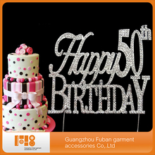 (10 pieces/lot)  Happy 50th Birthday crystal cake  topper for cake  decoration ,free shipping