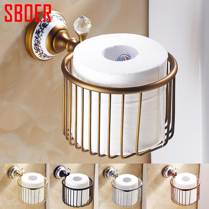Rose golden black antique chrome brass Crystal Wall Mounted Bath Accessories WC toilet Paper Holders Bathroom storage Basket<br><br>Aliexpress
