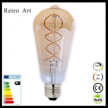 Dimmable antique style filament light bulb ST64 4W Edison style soft flexible led filament bulb
