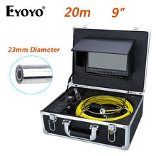 "Eyoyo 20M 9"" LCD 23mm Wall Drain Sewer Pipe Line Inspection Camera System Snake Endoscope CMOS 1000TVL HD Color TFT Sun shield(China)"