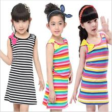 Kids Dresses for Baby Girls Clothing Set Vestidos Cotton Bow Striped Sleeveless Children Clothing Summer Dress 7-11 Years Old(China)