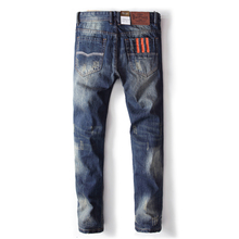 Blue Jeans Men Straight Denim Jeans Uomo Trousers Plus Size 29-40 High Quality Cotton Brand Orange Buttons Men`s Jeans 778(China)