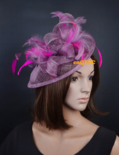 LT plum purple hot pink sinamay feather fascinator formal hat for wedding party kentucky derby Races Ascot Races