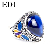EDI Authentic 925 Sterling Silver Blue Sapphire Cloisonne Rings Vintage Trendy Sterling Silver Jewelry Ring for Women Gift(China)