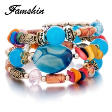 Buy FAMSHIN Boho Multilayer Beads blessing Colorful Bracelets Women Resin Stone Bracelets & Bangles Pulseras Ethnic Jewelry Gift for $2.29 in AliExpress store