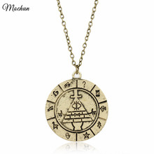 Buy MQCHUN 2 Colors Gravity Falls Bill Cipher Zodiac Pendant Necklace Vintage Reto Wheel Dipper Chain Necklace Men Women Gift for $1.51 in AliExpress store