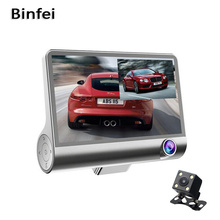 Binfei 4.0 Inch FHD 1080P Car DVR Video Camera Dual Lens with Rear view dashcam Three camera Option Night vision Camcorder