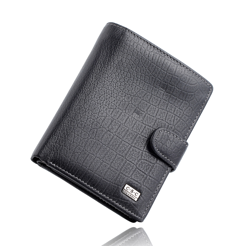 Famous Brand Mens Gentleman Black Large Bifold Genuine Real Leather Wallet Passcard Pocket Credit ID Card Slots Coin Pouch Purse<br><br>Aliexpress