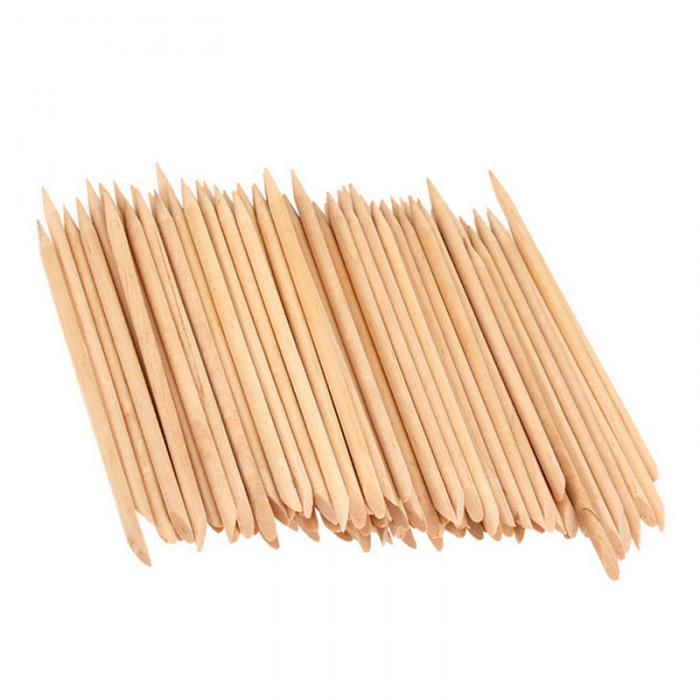 100 Pcs/Set Nail Art Wood Sticks Cleaning Nail Polish Cuticle Pusher Remover Manicure Tools Nails Care Stick FM88