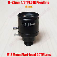 "1/3"" 9-22mm IR Sensitive Manual Zoom Varifocal M12 Mount CCTV Lens F1.6 Fixed Iris MTV Interface for CCD Video Security Camera"