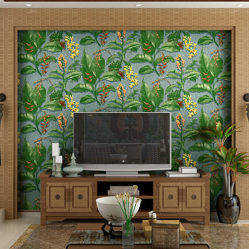 beibehang wallpaper sofa background personalized wall paper roll  for walls 3 d Southeast Asian banana leaves papel de parede<br>