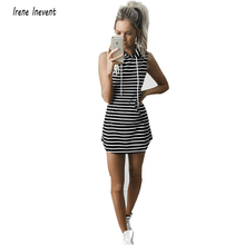 Summer  2017 Women Hooded Sexy Sporting  Dress with Pockets Black & White Stripe Bodycon Women Dresses Platya Vestidos Robes