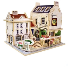 3D puzzle house wooden toy building model assembling DIY toys for children toys for adults Educational brinquedos jigsaw kids