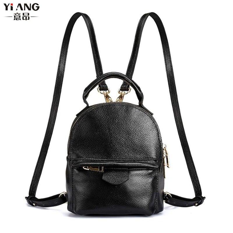 New Women Top Quality Genuine Leather Cowhide Women Ladies Korean Daypack Bag Luxury Retro Trend Female Mini Travel Backpack<br>