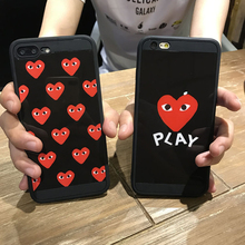Hot Popular love mirror CDG Play Comme des Garcons Soft silicon cover case for iphone 6 S 6S plus 7 7plus personality cases capa