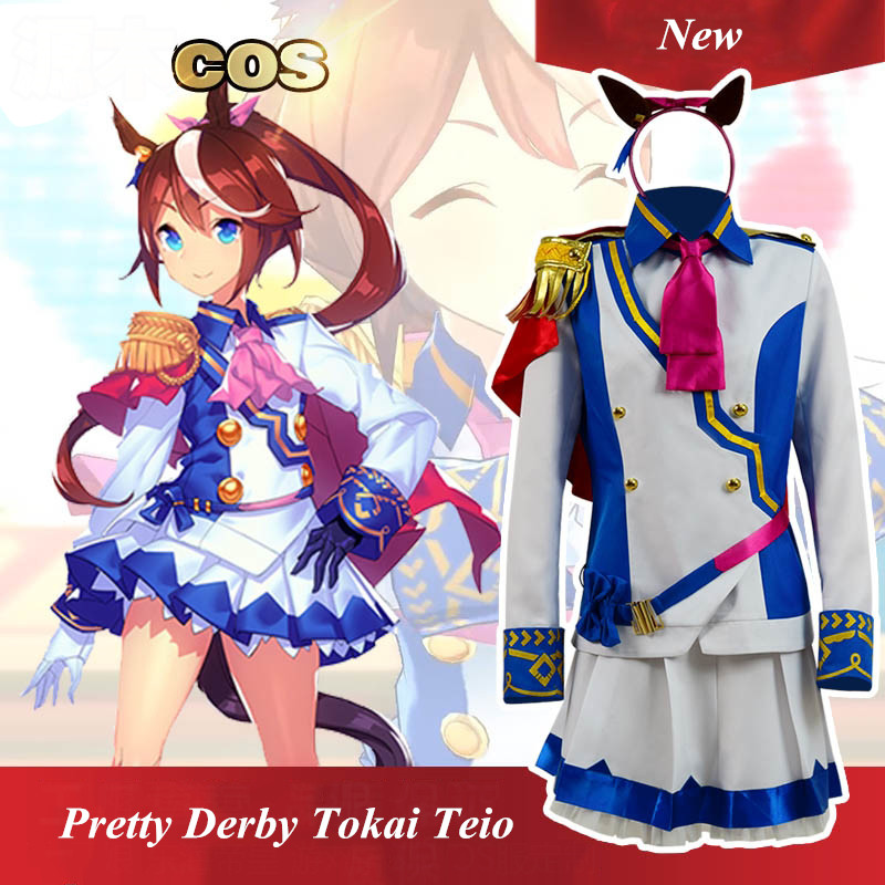Anime! Pretty Derby Tokai Teio Uniform Cosplay Costume Lolita Lovely Dress Suit Custom-made Size 2018 New Free Shipping