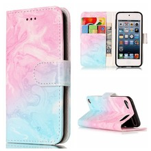 Marble Pattern PU Leather Phone Case For iPod Touch 5 6 Cover Flip Shell Stand Wallet Bag Card Holder
