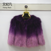 Winter Female Raccoon Fur Coats Short Jacket Real Raccoon Dpg Fur Coat Woman Genuine Natural Fur Gradient Colors Ladies Fur Coat