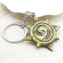 WOW Warcraft Hearthstone Logo Keychain Hearthstone Heroes Of Warcraft Zinc Alloy Classic Game Key Ring Pendant Wholesale 1 pc