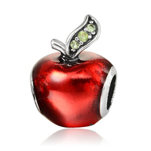 Original Red Apple Shape Oil-drip Crystal Big Hole Charm Beads Silver Plated DIY Jewelry Accessories For Bracelet Bead JPB280(China)